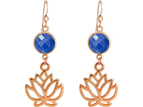 Gemshine YOGA Ohrringe Lotus Blumen Ohrhänger tiefblaue Saphire hochwertig vergoldet oder rose. Nachhaltiger, Fair Trade, qualitätsvoller Schmuck Made in Spain, Metall Farbe:Silber rose vergoldet