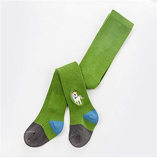 GLBS Enfant Cartoon Motif Fille Bébé Collants Animal Beau Coton Nouveau-né Collants Confortable Chaud Genou Pads Keep Leggings Bébé for L'âge 1-11 Ans (Color : Green, Size : Height 85-95cm)