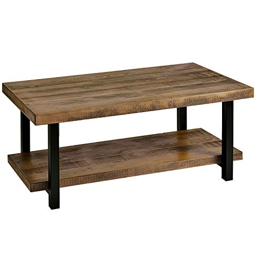P PURLOVE Coffee Table Rustic Style Solid Wood+MDF and Iron Frame Rectangle Coffee Table for Living Room with Storage Shelf Easy Assembly (Distressed Brown)