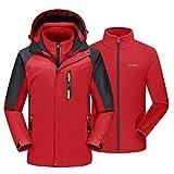 EKLENTSON - Chaqueta de esquí para Hombre, 3 en 1, Resistente al Agua, con Capucha Desmontable, Hombre, Color Rojo, tamaño XX-Large