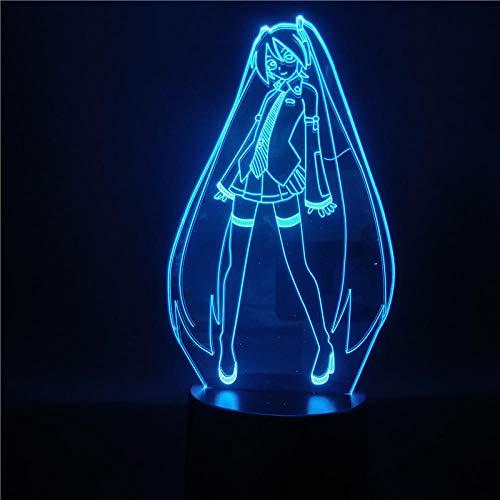 Lámpara De Ilusión 3D Luz De Noche Led Hatsune Miku Figura Lámpara De Mesa Que Cambia De Color Para El Dormitorio Junto A La Cama Para Regalo De Navidad