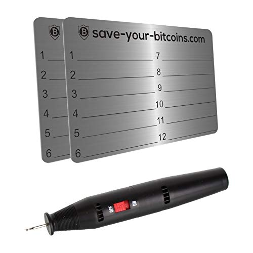 Save-Your-Bitcoins Hardware Wallet Seed Phrase - Recovery Metallplatte aus Edelstahl (V4A), Kit mit 2 Platten + Gravierstift