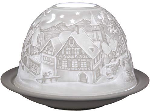 Himmlische Düfte Geschenkartikel GmbH Winterträume Windlicht, Porzellan, Weiß, 12 x 12 x 8 cm