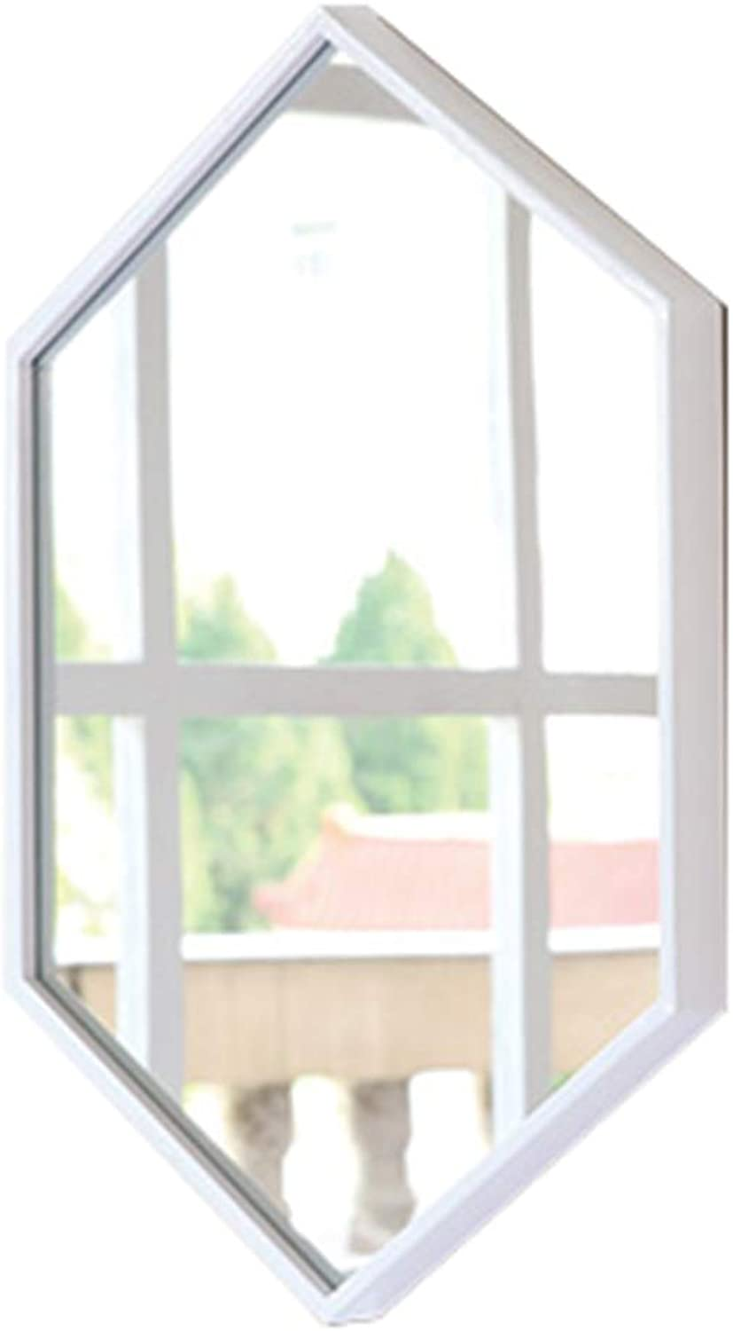 Teng Peng Bathroom Mirror-Wrought Iron Frame Mirror Decorative Wall Mirror for Bedroom Bathroom Hotel Thickness 3 Sizes Home Mirror (color   White, Size   50x70cm)