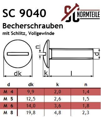 Flachrundschrauben mit Schlitz Vollgewinde M6x16 - Edelstahl A2 V2A Bordwandschrauben SC9040 - Becherschrauben 5 St/ück SC-Normteile