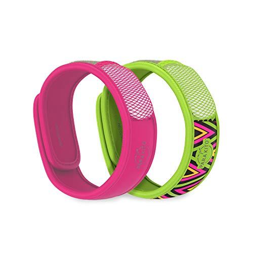 PARA'KITO Mosquito Repellent Bonus Pack - 2 Wristbands   2 Refills (Fuchsia + Inka)