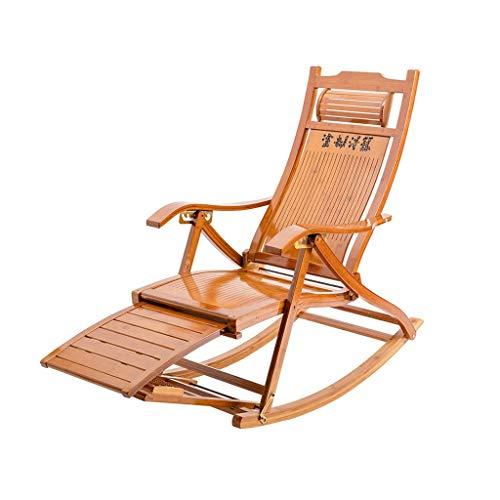 WFFF Silla Mecedora de bambú, reposapiés Plegable retráctil, sillón reclinable de Madera, Silla Mecedora de jardín de Ocio para Almuerzo de Siesta Ajustable