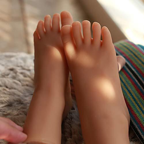 AKAKKSKY Frau Fuß Modell Silikon Schaufensterpuppe Füße Schmuck-Display Simulations-Skin TPE-Material Fußfetisch Sammlung Schuhe, strümpfe Zeigen,Brown