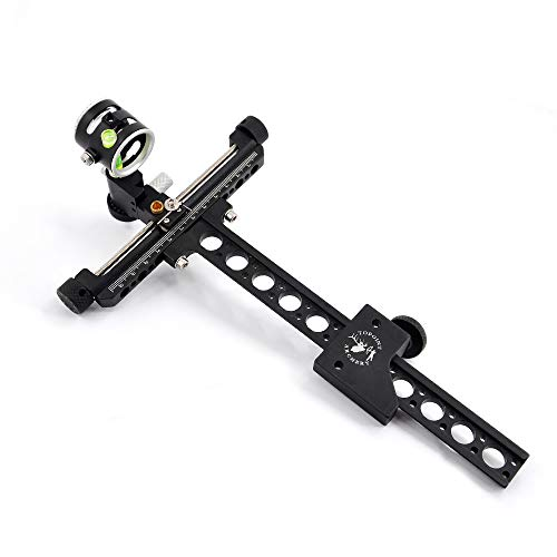 """TOPOINT ARCHERY Competition Bow Sight for Beginners,Aluminum 1 Pin 019"""" Fiber Optics Bow Sight with 4X Scope Hunting Accessory"""