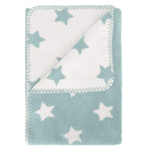 kids&me warme Babydecke aus 100% kuscheliger Bio Baumwolle kbA - weiche Erstlingsdecke für Babys - Einschlagdecke Made in Germany in blassblau | Maße: 70x100cm