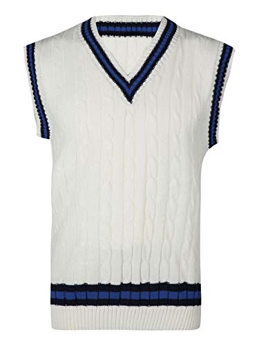 REAL LIFE FASHION LTD. Adults Cricket Cable Knitted Sleeveless Warm Sweater Mens Fancy V Neck Vest Top#(Cream V Neck Cricket Knitted Vest#Medium#Mens)