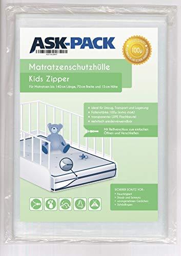 ASK Pack Premium Matratzenschutzhülle Kinderbett mit REIßVERSCHLUSS für 70cm breite / 140cm Lange/bis 15cm hohe Matratze - Extra Stark 100µ