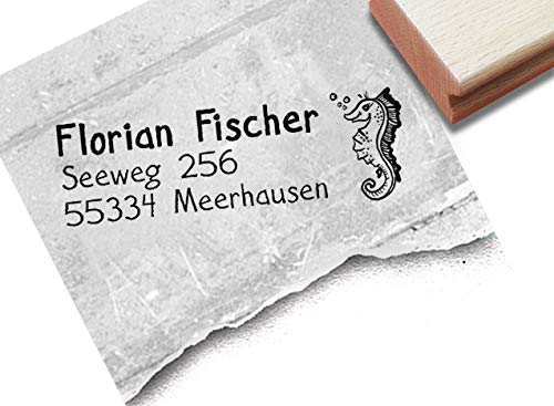 Stempel - Individueller Adressstempel Seepferdchen - Kinderstempel personalisiert Name Adresse Tier, Geschenk für Kinder - zAcheR-fineT
