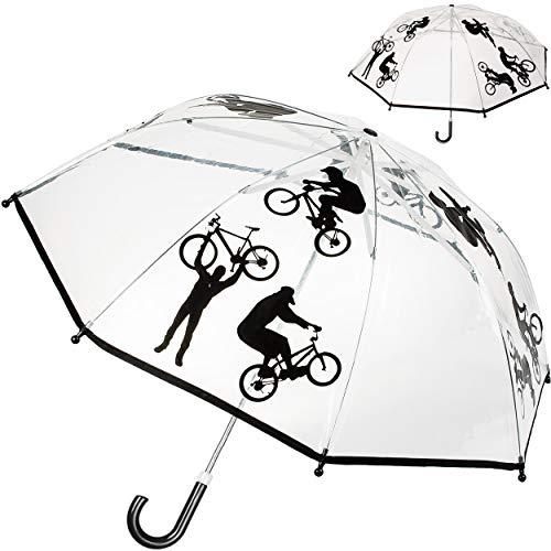 alles-meine.de GmbH Kinderschirm / Regenschirm - Fahrrad & Sport - Ø 78 cm - durchsichtig & durchscheinend - transparent - Kinder - Stockschirm - groß mit Griff - Einklemmschutz ..