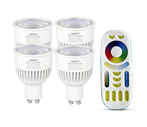 LIGHTEU®, 4x 6W GU10 RGB + CCT LED Spotlight Color Changing en CCT WW CW temperatuur instelbaar, origineel Mi-light, lamp met 4-zone afstandsbediening Miboxer (4x FUT103 + FUT092)