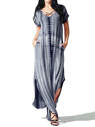 JayJay Women Elegant Fashion Style Print Layover Short Sleeve Long Maxi Dress,NAVY,L