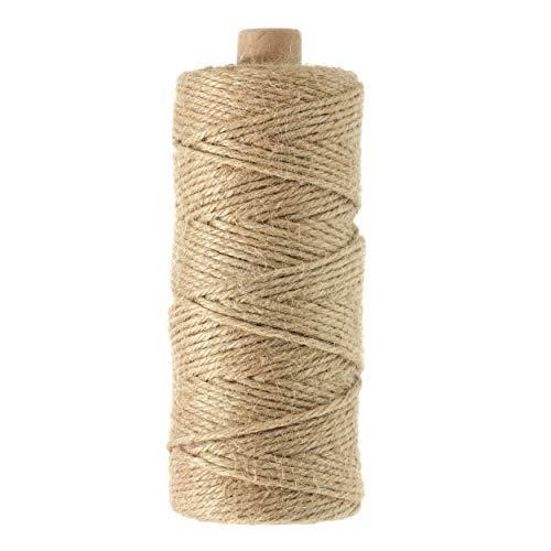 KINGLAKE 100 Metri Spago in Juta per Giardino Naturale 2 mm Corda per Artigianato Artistico, Corda per imballaggio Naturale, spago da Regalo