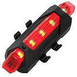 OcioDual Linterna 5 LED Rojos Parte Trasera de Bicicleta con Batería Recargable USB Impermeable Luz Roja para Seguridad