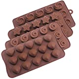 Paquete de 4 moldes de chocolate de silicona,YuCool Molde de caramelo antiadherente para pastel de chocolate Gelatina de hielo Jabón-Estrella,Remolino,cáscara,forma de flor
