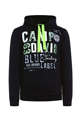 Camp David Herren Hoodie mit Raw Edges und Used Artwork, Black, L