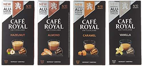 Café Royal Probierbox Flavoured 40 Nespresso* kompatible Kapseln aus Aluminium - 4 Sorten: Vanilla, Caramel, Almond, Hazelnut - UTZ - Testbox für Nespresso* Kaffeemaschinen