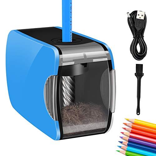 Elektrischer Anspitzer, AmzKoi Spitzer Elektrisch Automatisch USB und Batterie Betrieben mit Kurbel Bleistiftspitzer für Kinder, Profi Bleistift Spitzmaschine für Stifte von 6-8 mm (Blau)