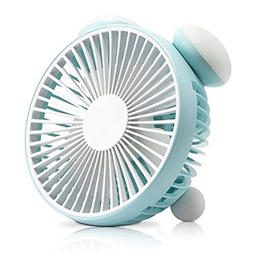 LYZL Lámpara de Noche Ventilador de Escritorio USB Piso de Ruido de Graves Dos velocidades Pequeño y portátil Ventilador de Verano Fresco en el Dormitorio de Estudiantes,Azul