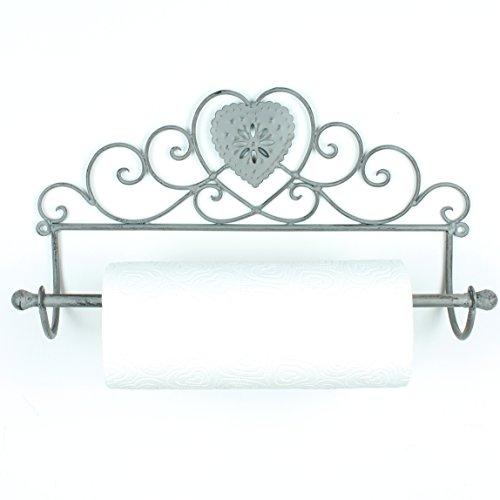 Boutique Porte-rouleau d'essuie-tout en forme de cœur Gris vintage