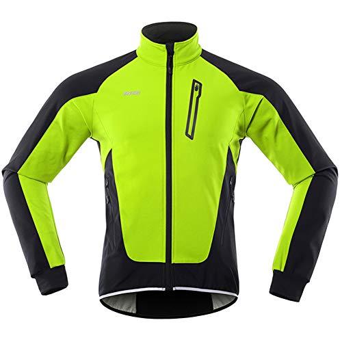 GITVIENAR Herren Fahrradjacke, Winddichte wasserdichte Radjacke mit Fleece, Warme Reflektierende Fahrradbekleidung für Winter, Thermo Langarm Jacke zum Radfahren Joggen Wandern (Grün, XL)