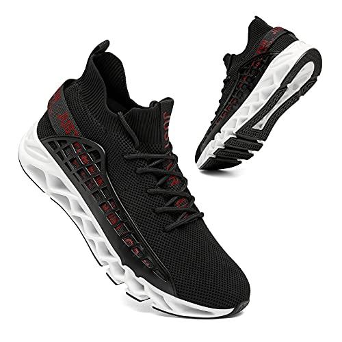 TUDOU Laufschuhe Herren Straßenlaufschuhe Sportschuhe Sneaker Herren Turnschuhe Joggingschuhe Walkingschuhe Traillauf Fitness Schuhe Gr.39-48 (SchwarzWeiß, Numeric_46)