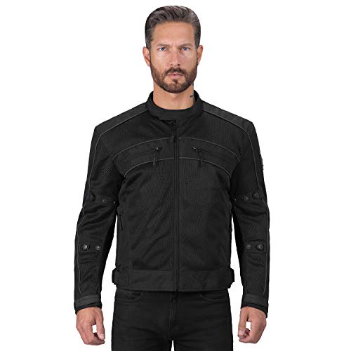 Motorcycle Jackets for Men Viking Cycle Ironside Men's Mesh Motorcycle Jacket (Black, Large)