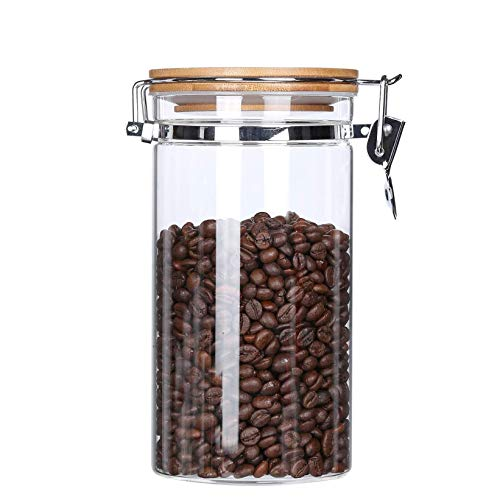 Clear Borosilicate Glass Food Storage Jar Canister Container with Airtight Locking Clamp Bamboo Lid,Coffee Bean Jar,Loose Tea Container,Sealed Jar Flip Top for Candy Nuts,40 floz (1200 ml)