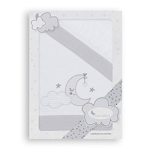 Sábanas Cuna Franela Nube Luna Blanco Gris