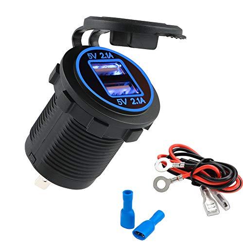 Zigarettenanzünder Yimorex Auto USB Steckdose Kfz Ladegerät Buchse 12V Wasserdicht Dual USB Kfz Ladebuchse mit 60cm-Kabel Dual-Ladeanschlüsse für 12-V-Auto-Wohnmobil-Boot-Wohnmobil-Motorrad-Mobil