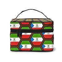メイクボックス プロ用 コスメケース 赤道ギニア国旗ハニカムパターン メイクケース メイクブラシバッグ 高品質 機能的 收納抜群 大容量 持ち運び ポータブル 化粧ポーチ 収納ケース 小物入れ 人気 おしゃれ プリント 旅行 出張用 バッグ