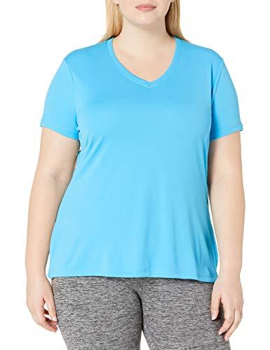 Just My Size Women's Plus-Size Cooldri s/V-Neck, Process Blue, 3X