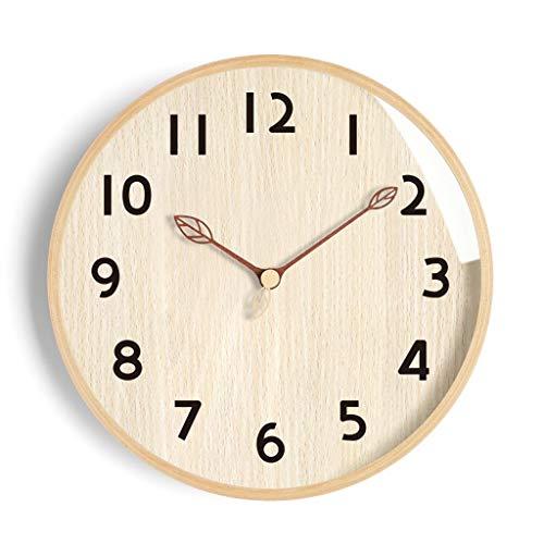 Gráficos Reloj de Pared Creativo de Pared Sala de Estar Inicio IKEA Relojes Simple Reloj del Arte de la Personalidad de Madera Maciza Silencio (Color : Yellow, Size : 10 Inches)