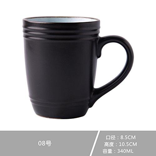 LOYWT Keramik Tassen, Löffel, Becher, Kreative europäische Kaffeetassen, Frühstück Milch, Tassen, große Kapazität Büros, Trinkbecher, 08-1schwarzem Kies