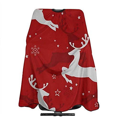 Salon Cape Kerst Herten Sneeuwvlok Rode Achtergrond Kappers Wrap Professionele Kapper Wai Doek Haar Cut Cape Salon Cape Kapsel Schort Polyester