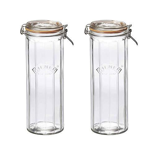 Kilner Vintage Facetado Cristal Clip Top Bote 2.2 Litro Transparente (Paquete De 2) - Transparente/transparente