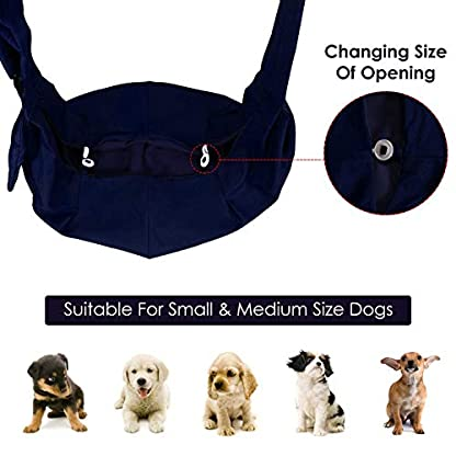 Nasjac Small Dog Puppy Sling Carrier, Hands Free Cat Sling Carry Dog Papoose Carrier Tote Bag with Pocket Safety Belt Adjustable Padded Shoulder Puppy Bag Sling for Daily Walking 7