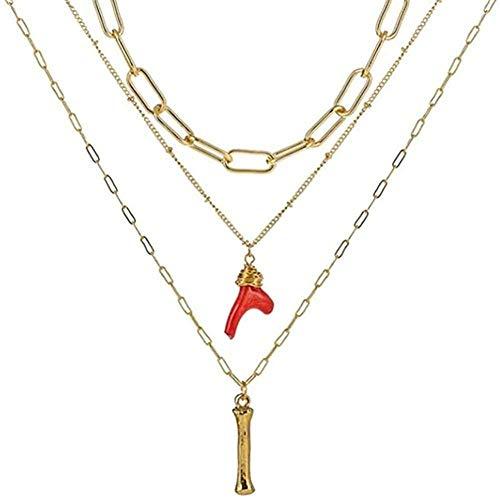 FACAIBA Collar Mujer Hombre Collar Inicial Oro Bambú Letra Iniciales Nombre Collares Coral Rojo Colgante Cadena de eslabones para Mujeres Regalo de cumpleaños Regalos