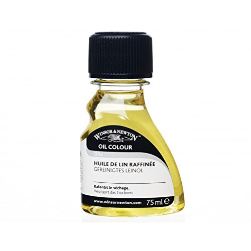 Winsor & Newton 2621748 Gereinigtes Leinöl, steigert den Glanz und die Transparenz von Ölfarben, 75ml Flasche