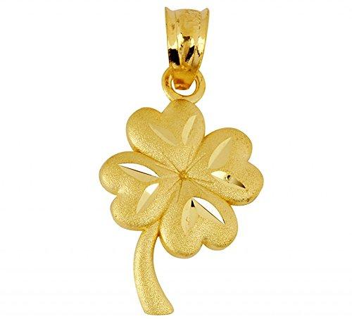 14K Yellow Gold Lucky Irish 4-Leaf Clover Celtic Pendant