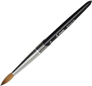 1PCS EVAL 100% Kolinsky Sable hair Brushes Acrylic Nail Brush Professional UV GEL Nail Art Tool Round Shape for Manicure Powder Pedicure metal handle (NB-4-Black #8)