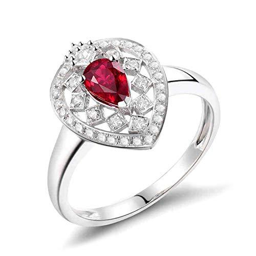 AnazoZ Anillos Mujer Rubí,Anillo Solitario Mujer Oro Blanco 18K Plata Rojo Gota de Agua Rubí Rojo 0.46ct Diamante 0.26ct Talla 13,5