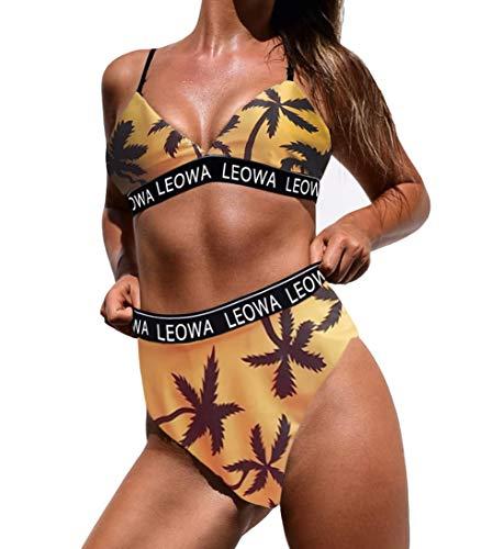 Eternatastic Damen Bikini-Set mit Augenaufdruck, hohe Taille, gepolstert, zweiteilig, Badeanzug - Beige - Medium