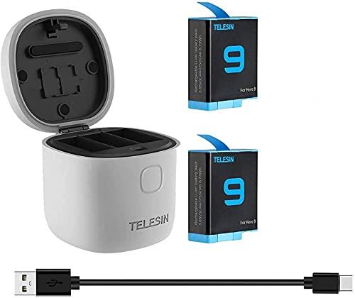 TELESIN AllinBox Cargador y lector de tarjetas SD - Cargador triple para GoPro Hero 10/Heo 9 black (cargador Allinbox+2 baterías)