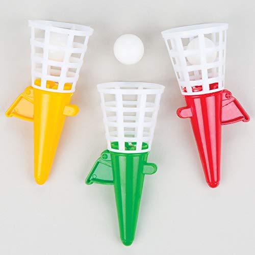 Baker Ross- Juguete de Lanza y Atrapa en 3 Colores variados (Pack de 6) -Regalos infantiles para bolsas de...