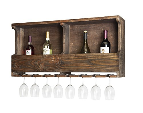 Sonoma Reclaimed Wood Wall Mounted Wine Rack with Glass...